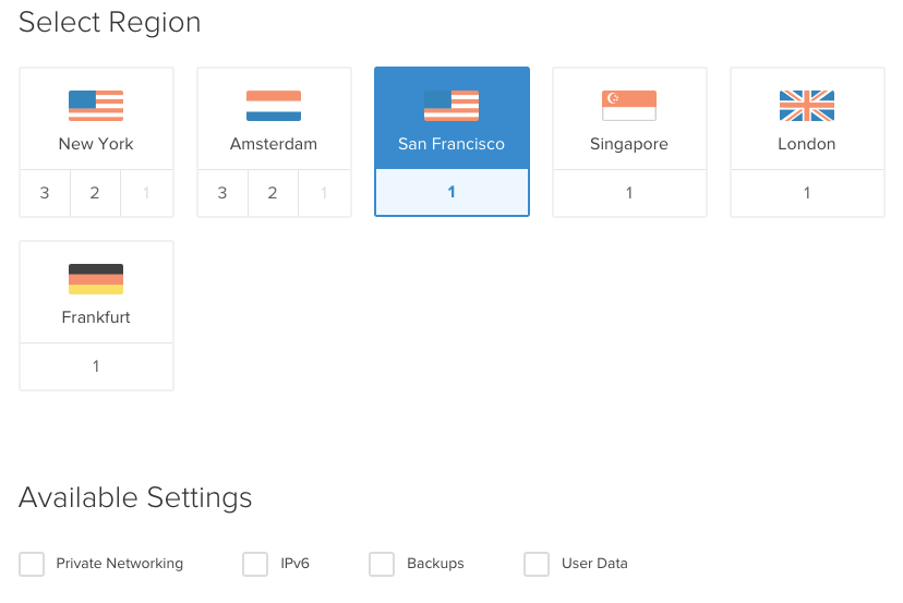 Select the region that is closest to you. No need to check any of the boxes under 'available settings.'